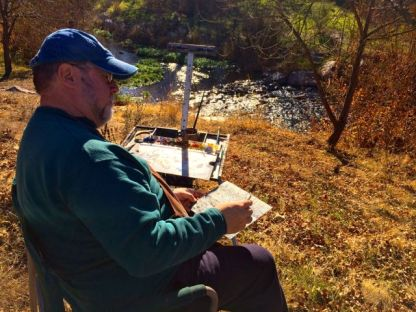 Yours truly out painting along Alamitos Creek.