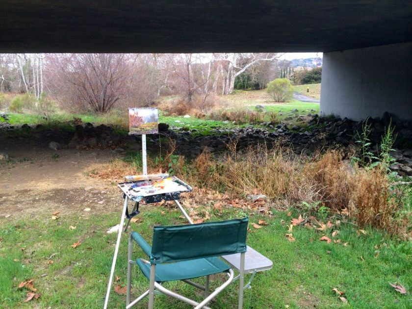 My easel under the Almaden Expressway overpass.