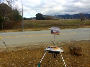 Painting Almaden Valley along Harry Road.