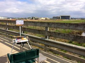 My easel set up on the pedestrian bridge over Stevens Creek