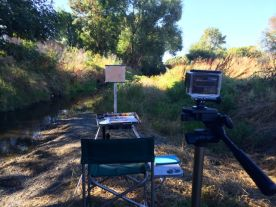 I then moved my easel back to paint the landscape part of the scene. You can see the GoPro on the tripod, and my easel by my 'easy chair'.