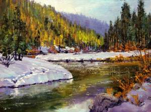 Truckee Thaw, 12x16, oil on panel