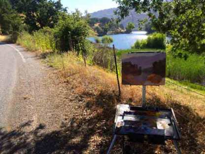 My easel along Alamitos Rd.