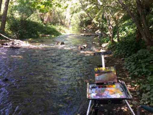 My easel along Los Gatos Creek.