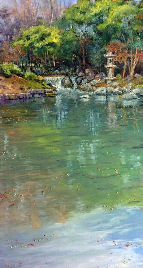 """Kako-no-ike Pond, Korakuen"", 24x12, oil on canvas."