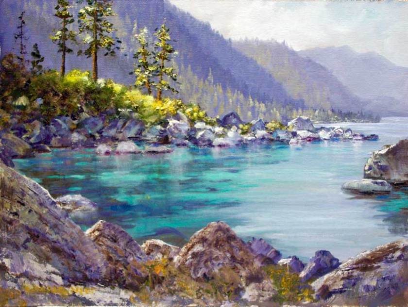 """Tahoe Inlet"", 9x12, oil on board"