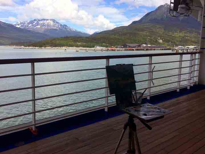 From the ship's deck, my easel and the scene