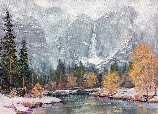 Misty Yosemite Falls, 5x7 miniature, oil on panel