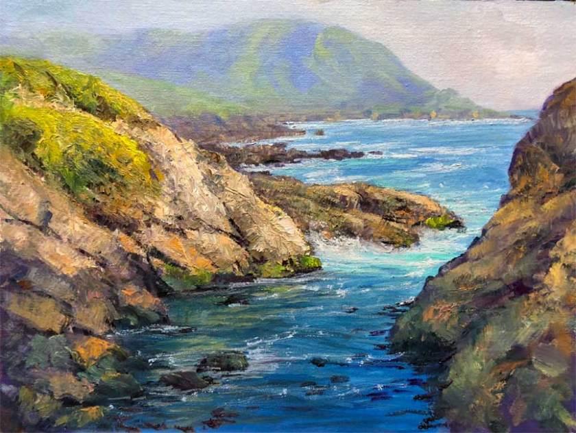 Quiet Cove, Garrapata, 12x16, oil on board
