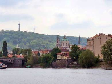 View across the Vltava River of St Nicolas Church