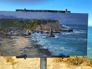 Davenport Beach, 8x16, oil on panel, plein air