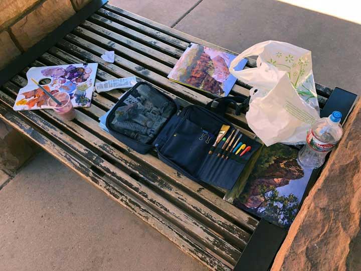 Paint kit at Big Bend, Zion