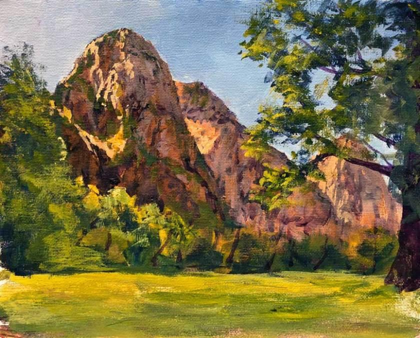 Zion Lodge View, 8x10, acrylic, plein air