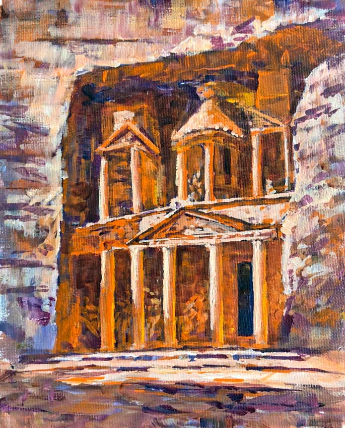 The Treasury, 10x8, acrylic on canvas, plein air