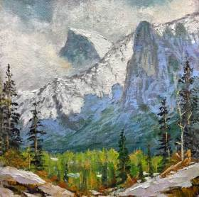 Shrouded Half Dome, 6x6,oil on panel