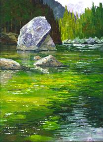 acrylic art demo, merced river