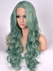 light green wavy long synthetic