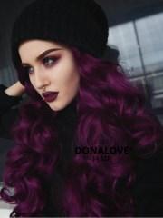 dark purple wavy waist length lace