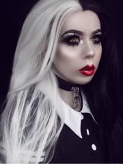 black white wavy synthetic