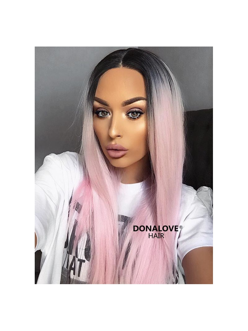 Black To Pink Ombre Long Straight Synthetic Lace Front Wig