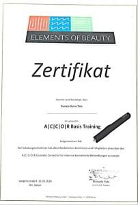 Zertifikat Accor Basis Training