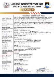 LASU sug Freshmen Orientation Week Programme of Events