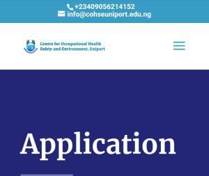 Uniport COHSE Postgraduate Admission Form.