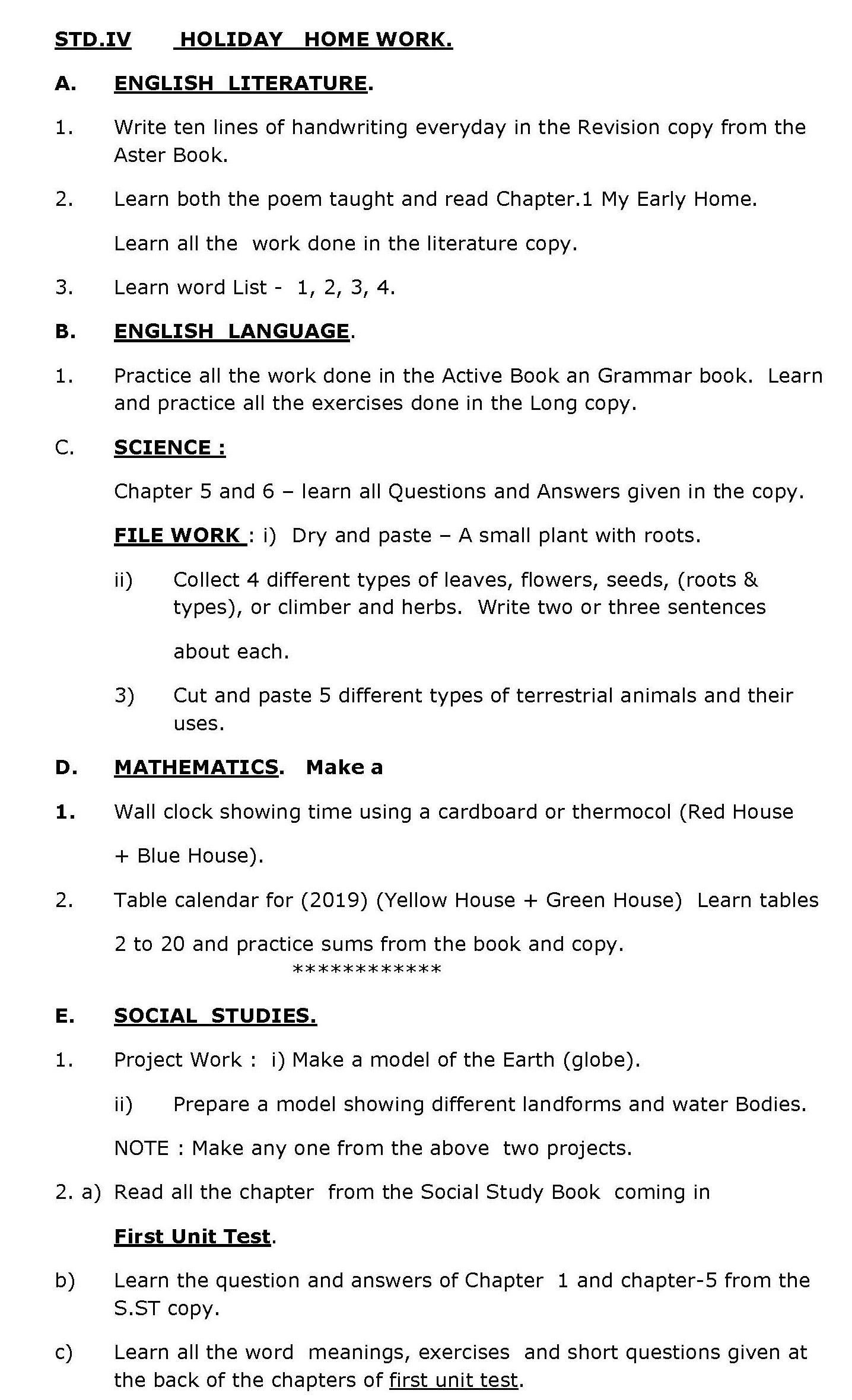 Holiday Homework