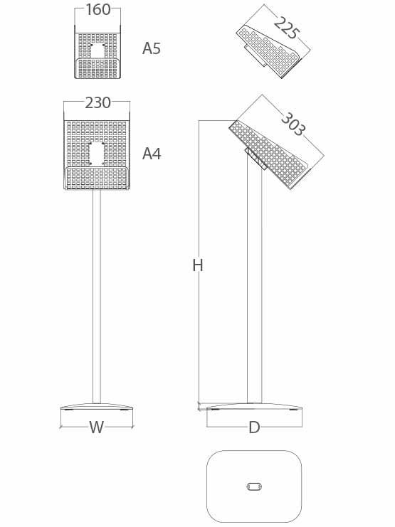 Expendedor Catálogos de Pie metálico medidas