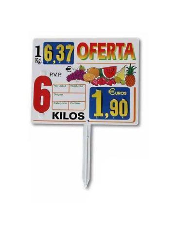 Cartel Porta Precio Frutería