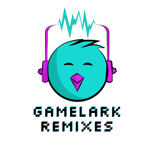 final logo for GameLark Remixes, branding, graphic design, lark, bird, headphones