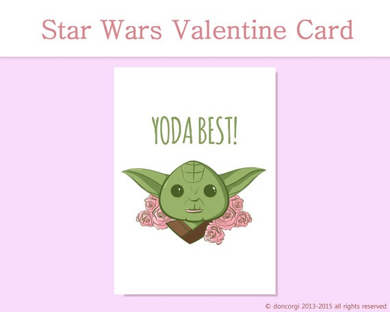 star wars, yoda, valentines day card, romantic card, gift, for him, for her