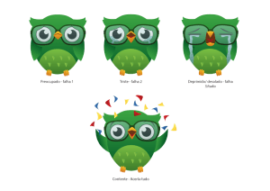 math arcade emotions, character design, clever owl