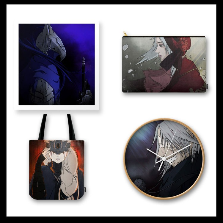 Don Corgi Designs on Society6 and Redbubble, Dark Souls and Bloodborne Fan Art