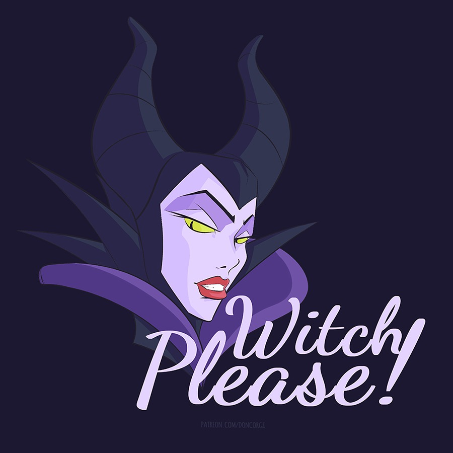 "Halloween Shirt of Maleficent ""Witch Please!"" Bitch Please One Liner Design"