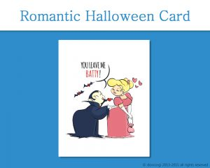 Dracula Romantic Halloween Card, You Leave Me Batty on Etsy by Don Corgi