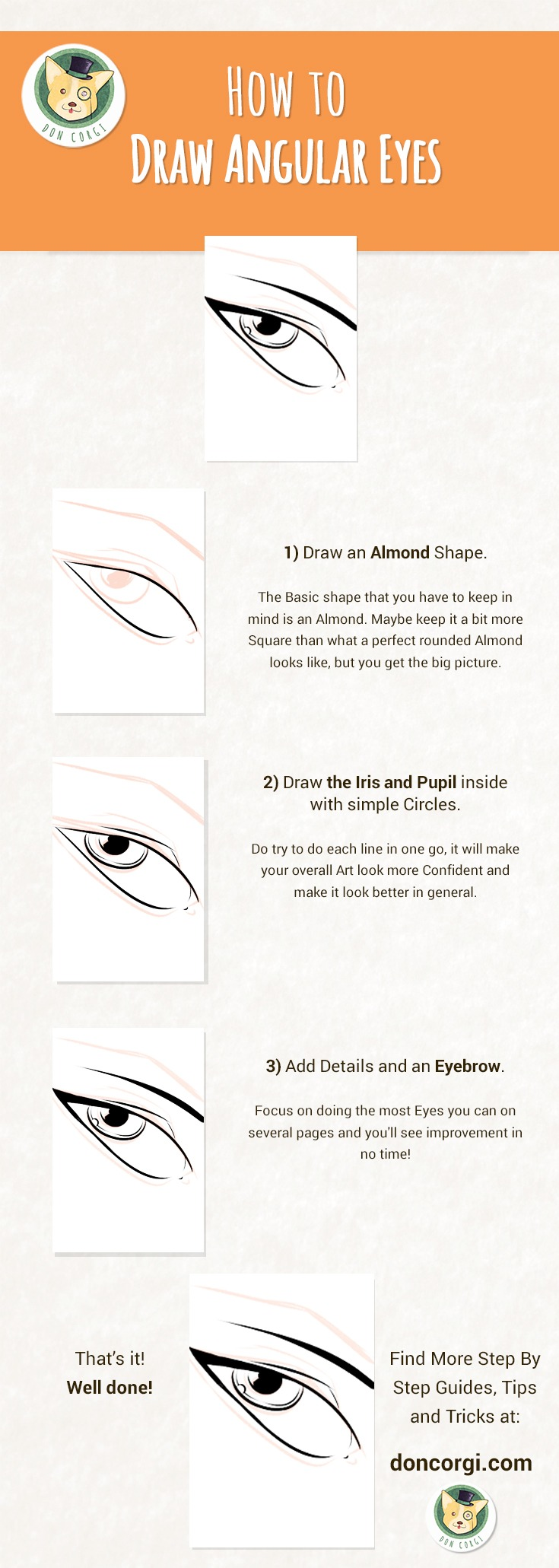 09 - How to Draw Eyes - Drawing Angular Eyes by Don Corgi