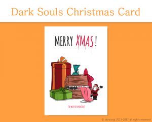 "Dark Souls Printable Christmas Card, and 7 more on Etsy! by Don Corgi (""Be Wary of Mimicry!"")"