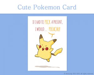 "Pokemon Printable Christmas Card, and 7 more on Etsy! by Don Corgi (""If I had to Pick a Present, I would... Pikachu!"")"