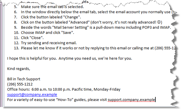 Good email example