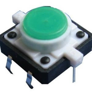 Green LED 12V 12x12dip Illuminated Tactile Pulsante with transparent bottone
