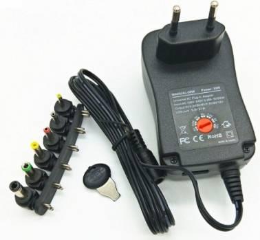Adattatore per caricabatterie multifunzione da 30 W tensione regolabile da 3 V a 12V con 6 adattatori con USB, adattatore UE