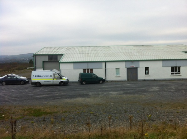 The warehouse outside Malin Town where drugs were discovered.