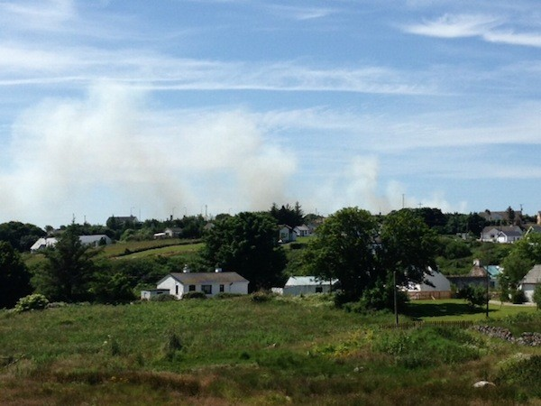 Smoke spreads form the fire at Loughanure
