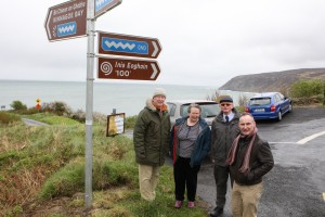 Neil Mc Cormack, Liam Cunningham Toni Devine and David Simpson walk along the long Glen Road near Kinnagoe Bay where the the purposed wind turbines are planed for in Co Donegal. Photo Brian McDaid/Cristeph