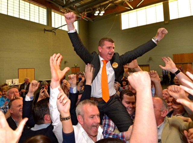 John O'Donnell celebrates after being elected in the Letterkenny electoral area.