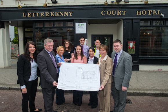 The McKeever Hotel Group has recently bought the Letterkenny Court Hotel and will be adding 27 new jobs as a huge renovation project is underway. The family - Eugene and Catherine McKeever, marketing manager Bridgene McKeever and Group Operations Manager Eddie McKeever along with some of the current staff who will play a key part in the future of the hotel.