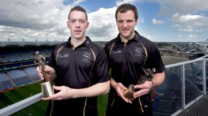 Michael Murphy pictured with Stephen Maher (Laois), as they picked up their player of the month awards in Football and Hurling at Croke Park today.