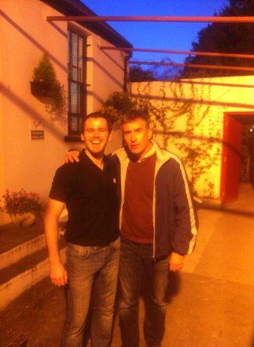 Alan Partridge actor Steve Coogan with St. Michaels footballer Brendan 'Bean' Rodden outside Patsy Dans bar in Dunfanaghy.