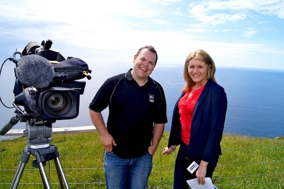 Shane Wallace of Wallace Media with presenter Andrea Gilligan.
